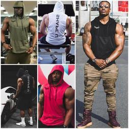 US Men Gym Clothing Bodybuilding Stringer Hoodie Tank Tops M