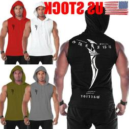 US Men Gym Clothing Bodybuilding Stringer Hoodie Tank Top Mu