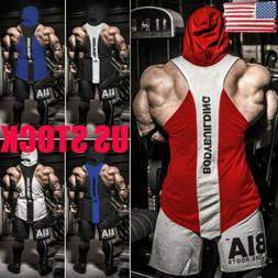 US Men Gym Clothing Bodybuilding Stringer Hoodie Tank Tops M