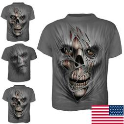 US Men`s O Neck Halloween Top Slim Fit Gym Clothing 3D Print