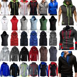 US Mens Hoodie Fitness Hooded Sweatshirts Sport Vest Muscle