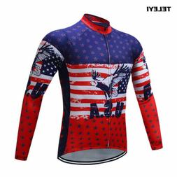 USA Cycling Jersey Men's Riding Long Sleeve Clothing Bike We