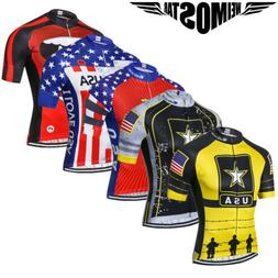 USA Flag Cycling Jersey Men's Bicycle Sportswear Breathable