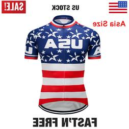 USA Flag Men's Cycling Tops Clothing Jerseys Bike Short Slee