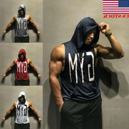 USA Men Gym Clothing Bodybuilding Stringer Hoodie Tank Top M