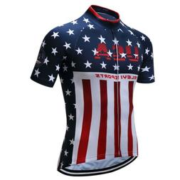 USA Shirt Men Cycling Jersey Short Sleeve Bike Clothing Bicy