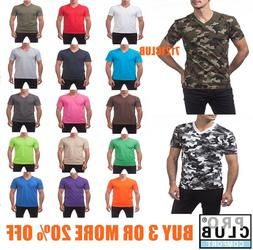 PRO CLUB V NECK T SHIRTS PLAIN MENS CAMO SHIRT PROCLUB SHORT