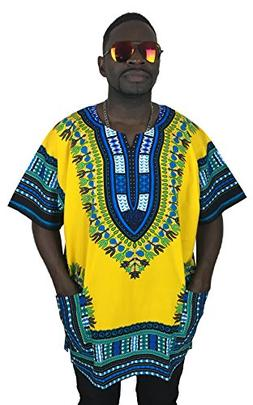 Vipada's Dashiki Shirt African Top Men's Dashiki Yellow XS