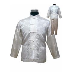 White Chinese <font><b>Men's</b></font> Satin Kung Fu Suit C