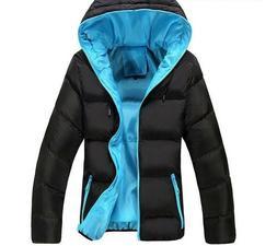 Winter Casual Hooded Jacket Zipper Parka Style Slim Men's Co