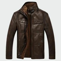 Winter Men Warm Fleece Leather Jacket Outerwear Motorcycle C