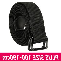 Women Extra Long 100 To 190cm Double D Ring Canvas Black Clo