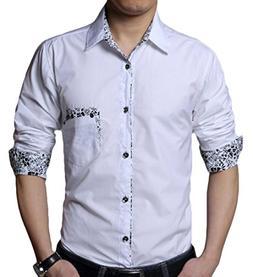 XiaoTianXin-men clothes XTX Mens Dress Shirt Inner Contrast