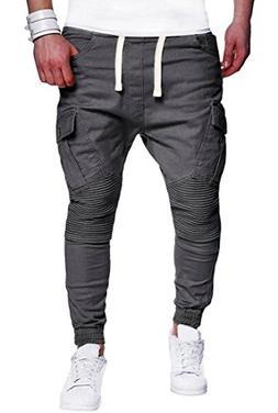 XiaoTianXin-men clothes XTX Men Casual Solid Twil Drawstring