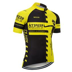 yellow mens bike jerseys cycling shirt short