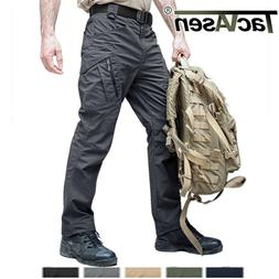 Zip Pockets Mens Tactical Cargo Pants Safari Workout Rip-sto